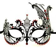 Large Butterfly Metal Filigree Masquerade Mask with Red Crystals