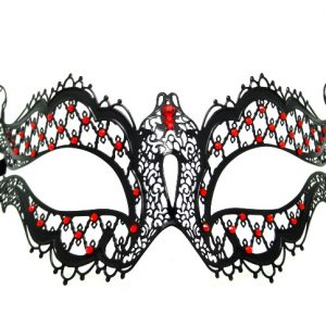 Metal Filigree Butterfly Masquerade Mask with Red Crystals