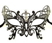 Large Metal Butterfly Filigree Masquerade Mask with Crystals