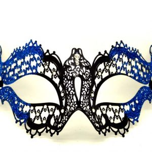 Metal Filigree Butterfly Masquerade Mask with Blue Glitter
