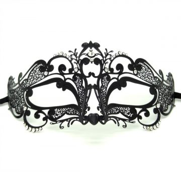 Metal Filigree Petite Swirl Masquerade Mask with Crystals