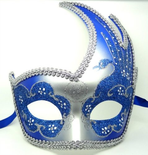 Vibrant Blue and Silver Swan Detailed Masquerade Mask