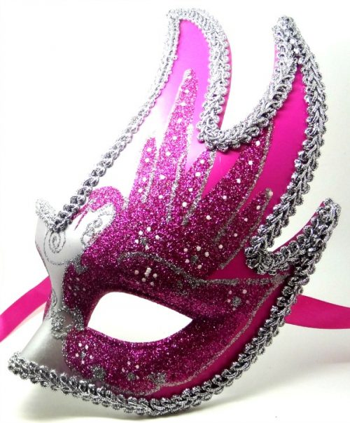 Hot Pink and Silver Swan Detailed Masquerade Mask