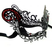 Metal Filigree Cat Masquerade Mask with Red Crystals