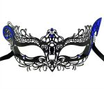 Metal Filigree Cat Masquerade Mask with Blue Crystals