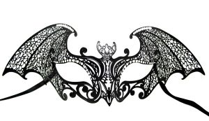 Large Bat Filigree Masquerade Mask with Crystals