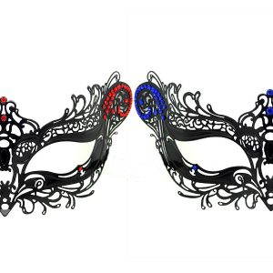 Red and Blue Metal Filigree His and Her Masks