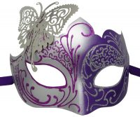 Purple and Silver Mask with Metal Butterfly