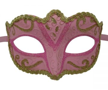 Classic Pink And Gold Venetian Mask