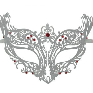 White Metal Filigree Masquerade Mask with Red Crystals