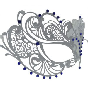 White Metal Filigree Masquerade Mask with Blue Crystals
