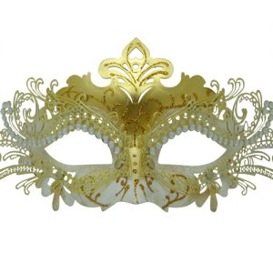 Metal Filigree Gold and White Masquerade Mask