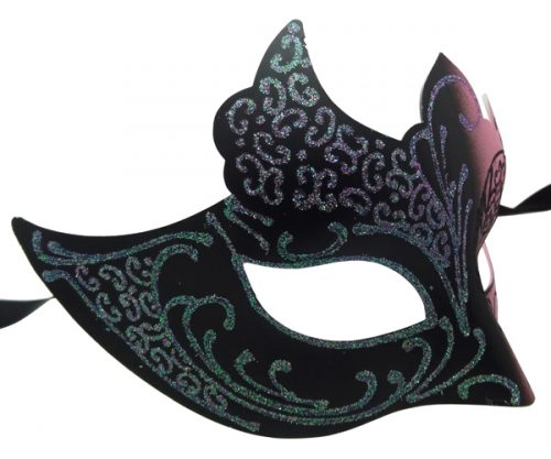 Pink and Black Masquerade Mask with Glitter