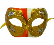 Cream and Orange Venetian Mask