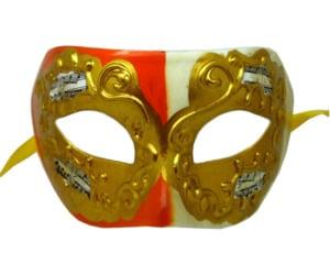 Cream and Orange Venetian Mask