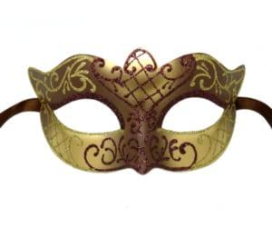 Brown and Gold Masquerade Mask