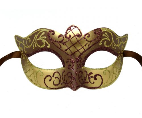 Brown and Gold Masquerade Mask