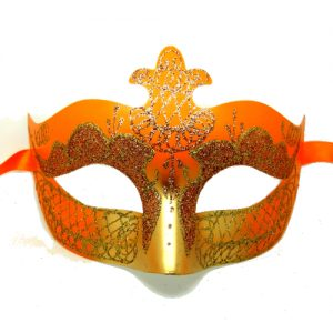 Orange and Gold Masquerade Mask