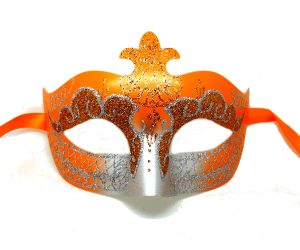 Orange and Silver Masquerade Mask