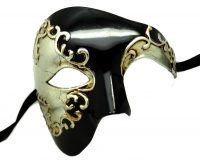 Black and Silver Venetian Phantom Mask