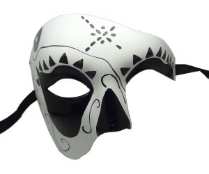White Phantom Mask with Black Detailing