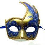 Vibrant Blue and Gold Swan Detailed Masquerade Mask