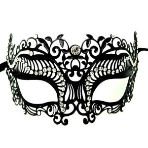 Flourish Metal Filigree Masquerade Mask with Crystals