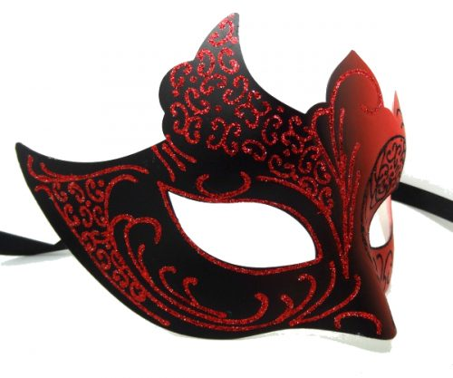 Red and Black Masquerade Mask with Glitter