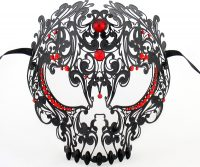 Men's Black Large Skull Metal Filigree Masquerade Mask with Red Crystals