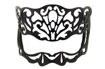 Black Real Leather Victorian Mask for Glasses