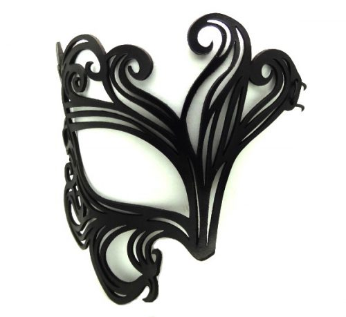 Real Leather Black Swirl Mask