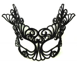 Black Baroque Large Authentic Leather Mask
