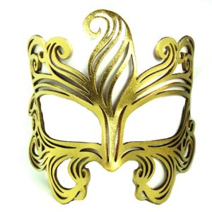 Warrior Metallic Gold Authentic Leather Mask