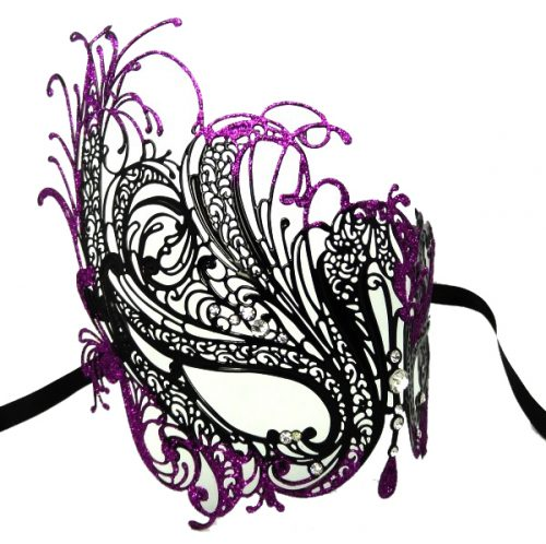 Metal Filigree Swan Masquerade Mask with Crystals and Purple Glitter