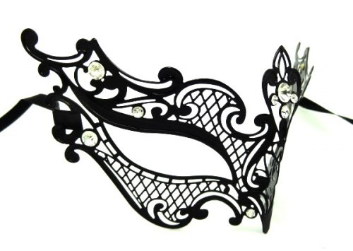 Metal Filigree Crosshatch Masquerade Mask with Crystals