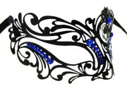 Heart Centerpiece Metal Filigree Mask with Blue Crystals