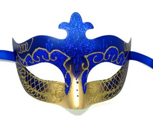 Royal Blue and Gold Masquerade Mask with Glitter