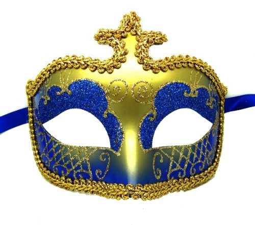 Gold High Point Masquerade Mask with Blue Glitter