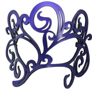 Purple Authentic Leather Filigree Mask