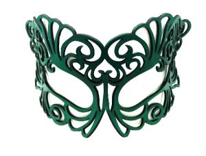 Teal Green Authentic Leather Filigree Mask