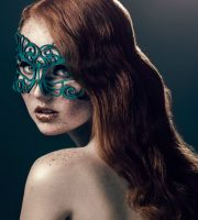 Green Authentic Leather Filigree Mask