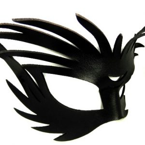 Wild Black Authentic Leather Filigree Mask