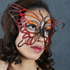Red and Black Butterfly Authentic Leather Filigree Mask