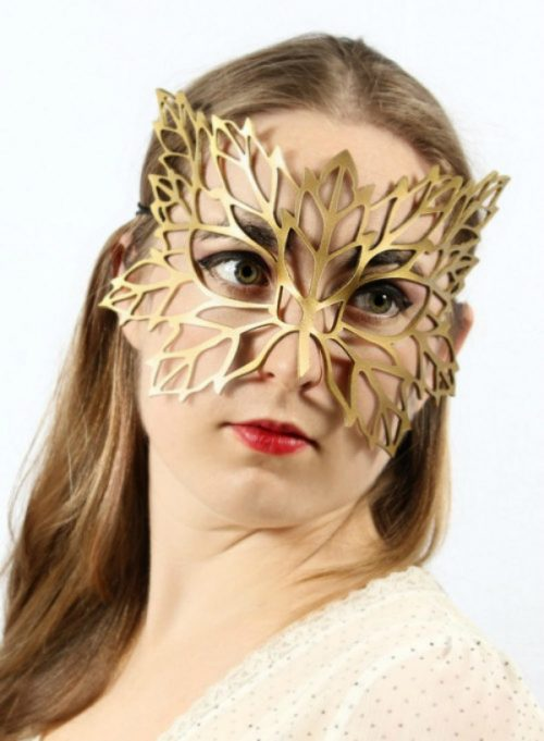 Golden Autumn Authentic Leather Filigree Mask