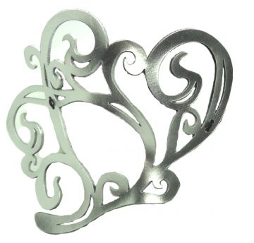 Authentic Leather Silver Heart Mask