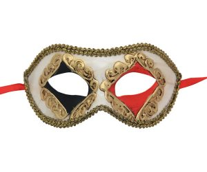 Classic Red and Black Diamond Venetian Mask