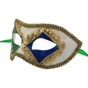 Classic Green and Blue Diamond Venetian Mask