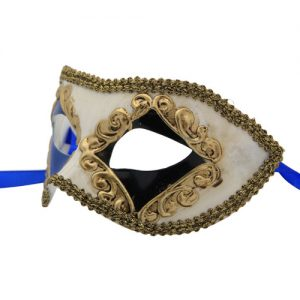 Classic Black and Blue Diamond Venetian Mask