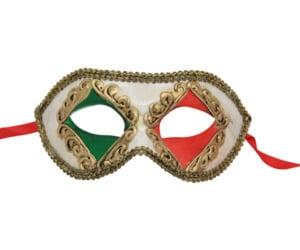 Classic Red and Green Diamond Venetian Mask