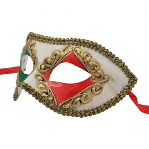 Classic Red and Green Diamond Venetian Mask
